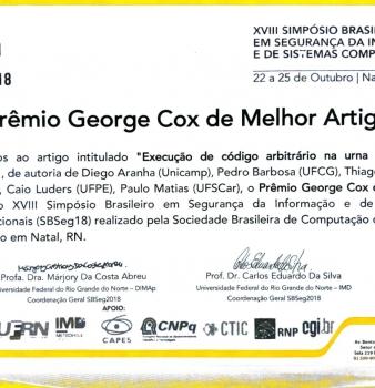 ELT ganha prêmio George Cox na SBSeg 2018